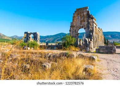 Roman Ancient city of Volubilis, Meknes, Unesco World Heritage Site in Morocco