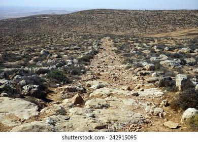Roman ancient road and mountain near Amasa, Israel