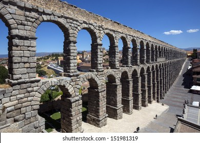 The Roman Aquaduct in the city of Segovia in central Spain.