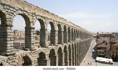 A Roman aquaduct in Segovia, Spain.