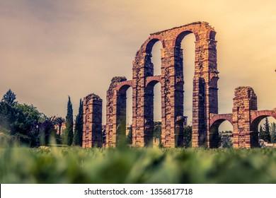 Roman aqueduct Acueducto de los Milagros in Merida, Spain. 23/06/2017.  The Acueducto de los Milagros English: Miraculous Aqueduct is the ruins of a Roman aqueduct bridge, part of the aqueduct built.