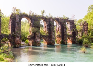 Roman aqueduct of ancient Nikopolis that starts from the northern end of the valley of the Louros, near the village of St. George, north of Filippiada, Preveza, Greece