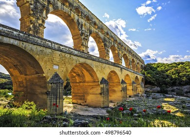 Roman Aqueduct crossing the Gardon River, Pont du Gard, Southern France, Heritage Site, UNESCO