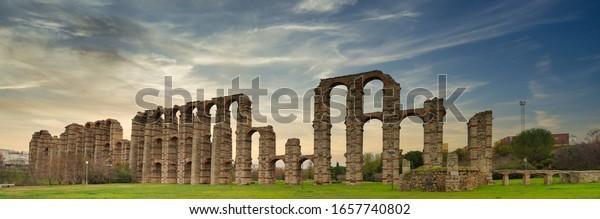 Roman aqueduct of Merida. Badajoz,Extremadura. Spain  UNESCO World Heritage Site
