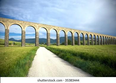 roman aqueduct at pamplona city in navarra spain