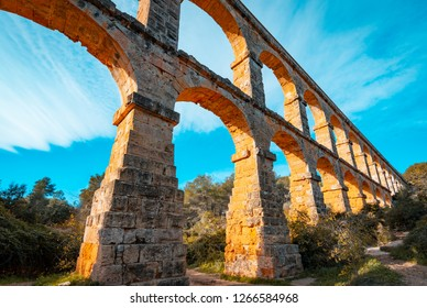 Roman Aqueduct Pont del Diable in Tarragona, Spain.The Archaeological Ensemble of Tarraco is declared a UNESCO World Heritage Site Ref 875