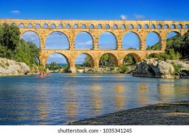 Roman aqueduct at Pont du Gard France, UNESCO World Heritage Site
