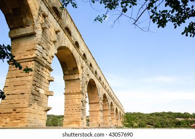 Roman aqueduct Pont du Gard in southern France