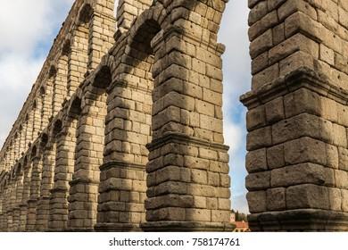 Roman Aqueduct of Segovia. Ancient aqueduct built by the Romans.