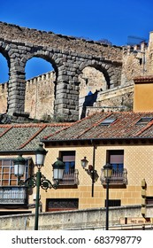 Roman Aqueduct of Segovia (Aqueduct Bridge), one of the best-preserved elevated Roman Aqueducts and the foremost symbol of Segovia as city's coat of arms, located in Plaza del Azoguejo, Segovia, Spain
