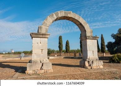 Roman arch on the camino de santiago and via augusta de cabanes, Spain