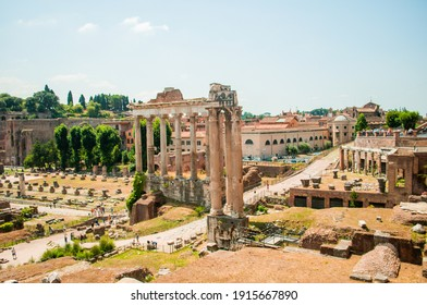 Roman archaeological town. Ancient ruins of Palatine. RomeItaly - May 2020