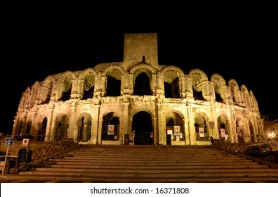 Roman Arena illuminated at night, Arles southern France