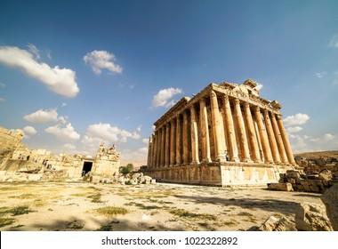 Roman Bacchus Temple in beautiful day in Baalbek, Lebanon