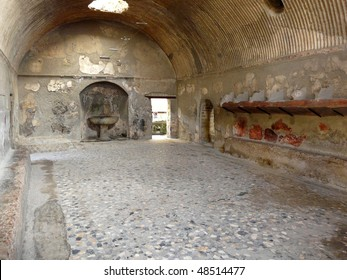 Roman baths at the ancient city of Herculaneum, which was destroyed and buried by ash during the eruption of Mount Vesuvius in 79 AD