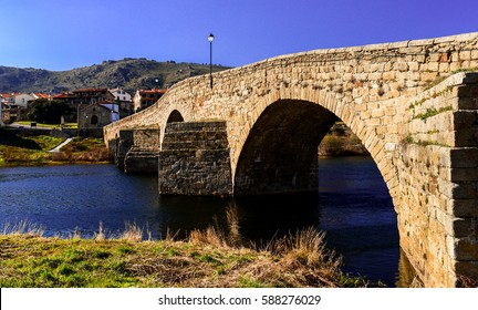 "Roman bridge of 125 meters long built on the river Tormes in the town ""El Barco de Ávila"" in Spain. Also known as ""The Old Bridge""."