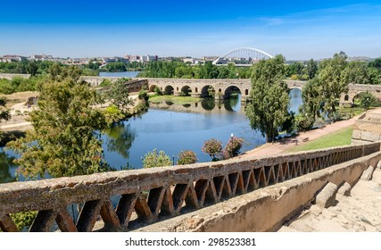 Roman Bridge from the Arab Alcazaba of Merida, In Spain