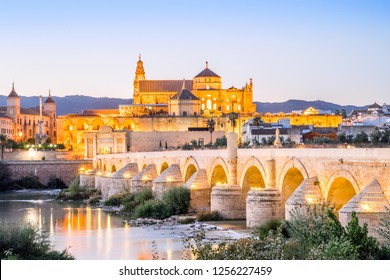Roman bridge and cathedral - mosque as landmarks of Cordoba, Andalusia, Spain