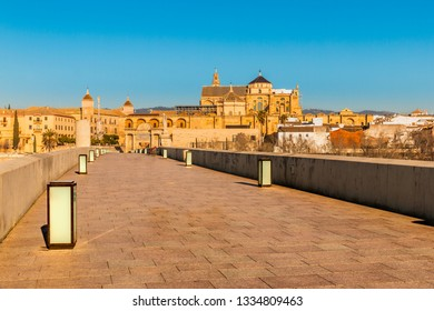 The Roman bridge of Cordoba in Spain, leading to the Mezquita Cathedral and crosses the Guadaquivir river