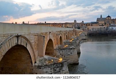 The Roman Bridge of Cordoba at Sunset
