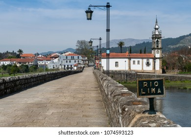 Roman bridge crossing the Rio Lima in Ponte de Lima. Camino de Santiago - Portugal.