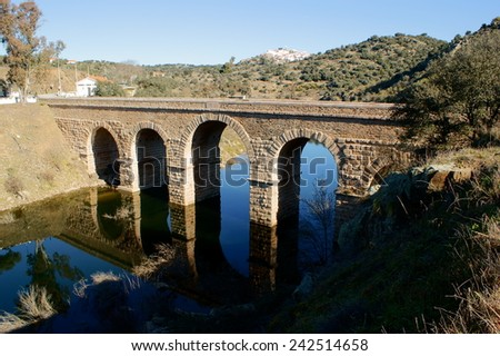 Roman bridge over river Erges in Portugal