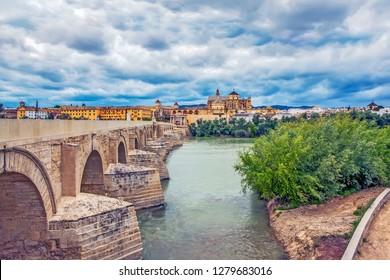 Roman bridge over the river Guadalquivir. Cordoba. Spain
