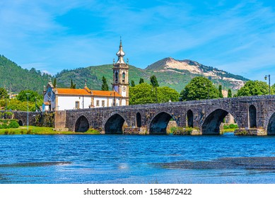 Roman bridge at Ponte de Lima in Portugal
