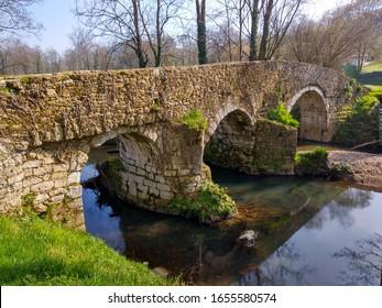 Roman bridge un Pola de Siero, Asturias, Spain - Shutterstock ID 1655580574