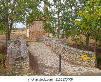 Roman bridge (Virgin of the Bridge - Virgen del Puente) over River Valderaduey - Sahagun, Castile and Leon, Spain