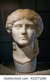 Roman bust from of Segobriga, Cuenca Province, Castile-La-Mancha, Spain