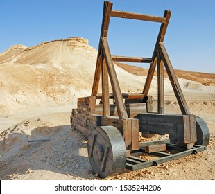 Roman catapult in Masada, is an ancient fortification at Judean Desert built by Herode The Great, where happened the mass suicide of the 960 Sicarii rebels. Israel, 09, 2008.