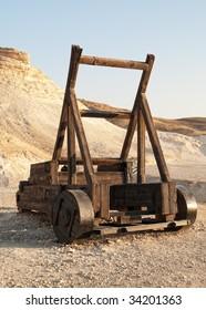 Roman Catapult. Old siege machinery in Masada. Israel