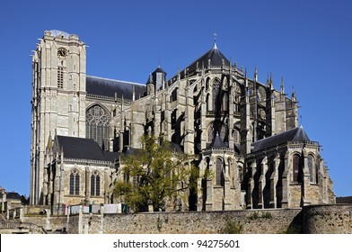 Roman cathedral of Saint Julien at Le Mans on blue sky background, Pays de la Loire region in north-western France