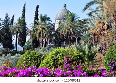 The Roman Catholic chapel at Mount of Beatitudes near the sea of Galilee in North Israel.