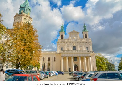Roman Catholic Church St. John the Baptist Cathedral. Lublin is Polish city Lublin, Poland: September 2018. Beautiful summer sunny day. Lublin Cathedral of Saint John Baptist and Saint John Evangelist