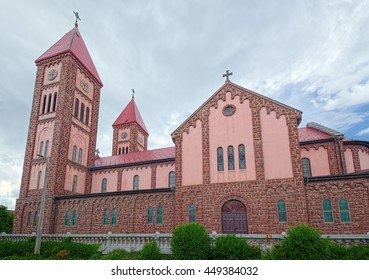 Roman Catholic Parish Church of Balatonfured town, Hungary, also named as 'Red Church' and 'Christ the King Church', built in 1927.