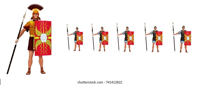 Roman centurion and legionaries isolated on white background Computer generated 3D illustration