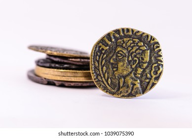 Roman coins stacked