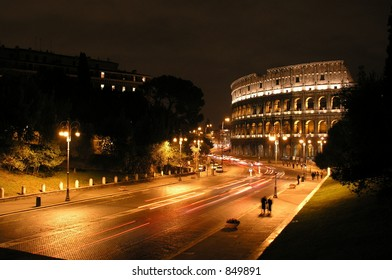 Roman Coliseum at night, Rome, Italy
