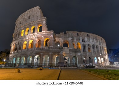 The Roman Colliseum at night in Rome, Italy.