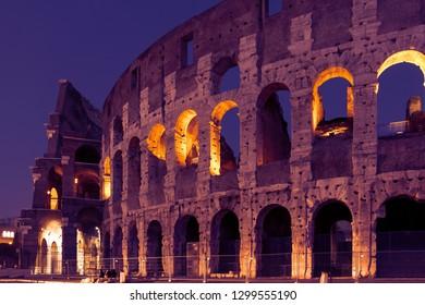 Roman Colloseum in Rome, Italy in the evening. Sunset light.