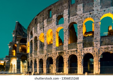 Roman Colloseum in Rome, Italy in the evening.