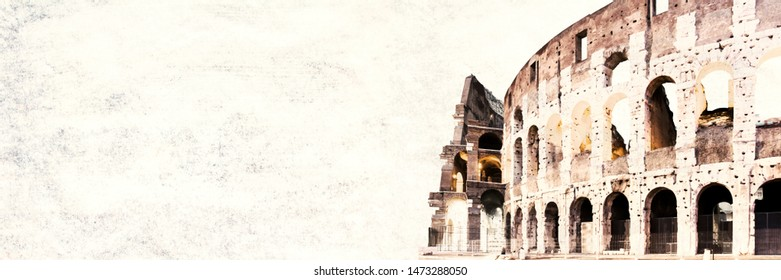 Roman Colloseum in Rome, Italy in the evening. Copy space. Wide panoramic image on texture background. Horizontal banner.