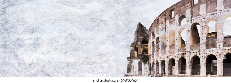 Roman Colloseum in Rome, Italy on texture background. Wide panoramic. Copy space.