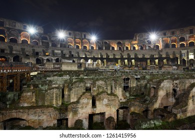 Roman Colosseum - Flavian Amphitheatre Interior During Night Tour at Piazza del Colosseo, Rome, Italy on November 30th, 2018