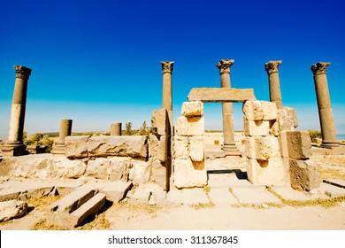 Roman columns in the Ancient city of Gadara, modern Jordan
