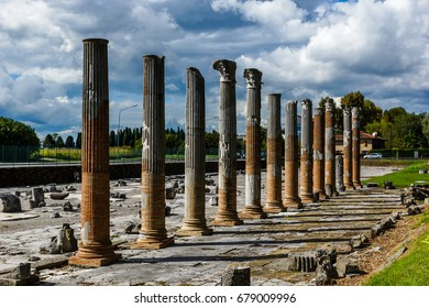 Roman columns in archaeological area in Aquileia, Italy