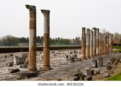 Roman columns in archaeological park in Aquileia, Italy