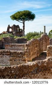 Roman constructions ruins at Villa Adriana tivoli - Roma - Italy